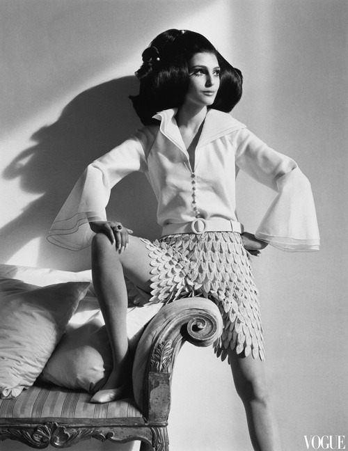 Benedetta Barzini in Mila Schon, US Vogue March 1968 by Henry Clarke (via Pleasurephoto Room)