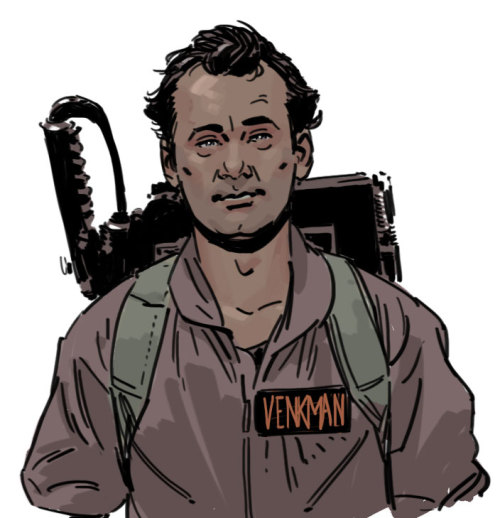"docshaner:  Late night doodle break, watching Ghostbusters.   ""Let's show this prehistoric bitch how we do things downtown."""