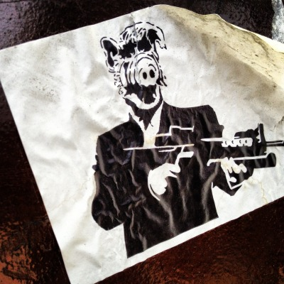ALF WITH AN AK… #alfpacino #streetart #sticker #hilarious #losangeles #obsessed