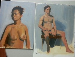 Oil paintings from life for Tristan Elwell's painting class.
