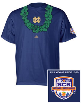 ND Hawaiian Shamrock Lei BCS National Championship Game T-Shirt : Hammes Notre Dame Bookstore Immediate purchase.