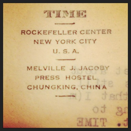 No big deal. Just #meljack's @time letterhead from the Chungking (AKA #chongqing) press hostel in #china #journalism #wwii