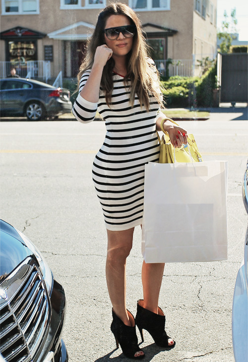 Love this striped dress on Khloe Kardashian