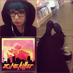 I got to work early! I could be productive oooooorrr… I could sit on the floor in the kids' section and dink around on my phone while enjoying my chai and this Zonekiller album. Yeah, okay.