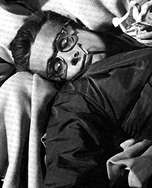 James Dean sleepin' on the job on the set of Rebel Without a Cause.