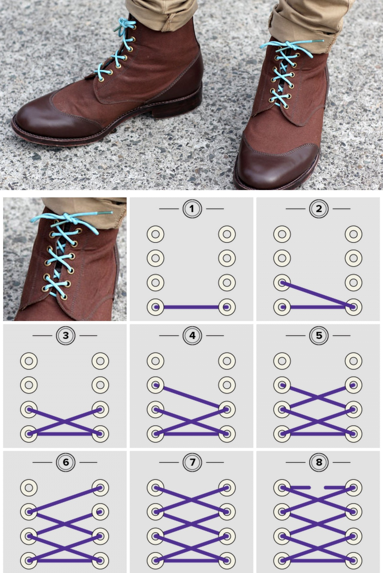 truebluemeandyou:  DIY Shoelace Styling from Mavericks Laces here (the Bow Tie pictured). All photos from Mavericks Laces (collage by me). Go to the link for other lace styles. I first saw these laces at Eat Drink Chic here with all the lace colors and packaging.