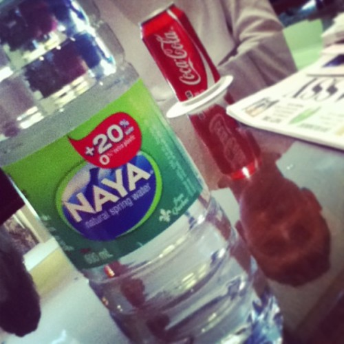 Canadian water (why am I taking a picture of this?) #Naya #Coke #reflection #questions (at Fairmont Château Laurier)