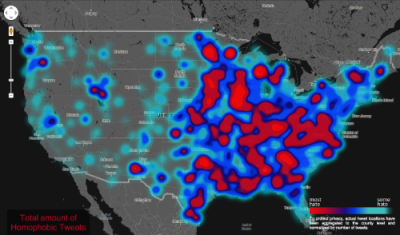 "thedailywhat:  Stats Pr0n of the Day: U.S. Map of Hate Speech on Twitter Since June 2012, Dr. Monica Stevens of Humboldt State University in California has been mapping more than 150,000 geotagged tweets that contain homophobic, racist or abliest language. The result is the Geography of Hate, an interactive map of the U.S. which reveals the hotspots of ""hate tweets"" across the country. A deeper analysis of the project is available at Floating Sheep."