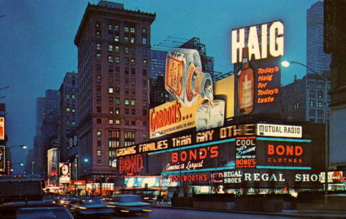 theniftyfifties:  Time's Square, New York City, 1957