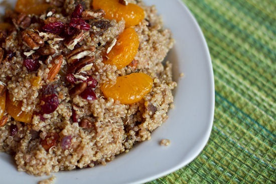 Mandarin & Maple Spiced Quinoa with Cranberries, Apricots, and Almonds (via Oh She Glows)