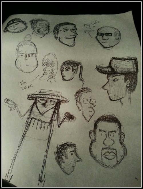 I found the caricatures I did at the bar a couple weeks ago.  And the outlaw…
