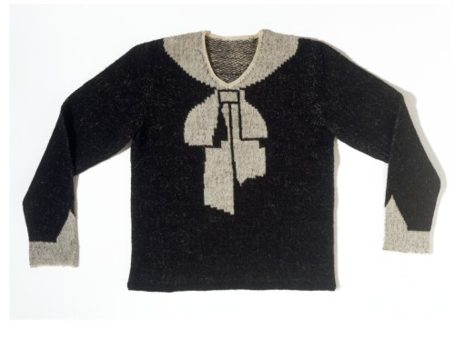 I love this sweater - i would have never have guessed it was made in 1927 - it could be made today and be a contemporary design. Now I know where Betsey Johnson gets her inspiration (I think). Absolutely adorable and quirky.  omgthatdress:  Sweater Elsa Schiaparelli, 1927 The Victoria & Albert Museum