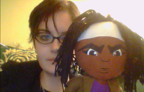 I bought a stuffed figure of Michonne from the Walking Dead the other day I'm not sure why such a thing exists but I'm kind of glad that it does