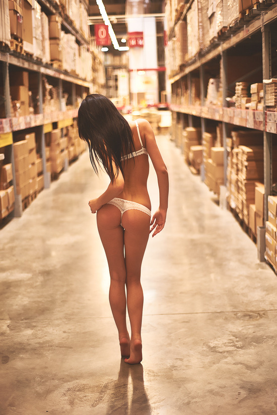 pocketcontents:  roothakers:  lonelycoast:     This poor girl is lost in a bikini inside a Home Depot:(  Nope, IKEA.  If she gets cold, I know a monkey with a coat.