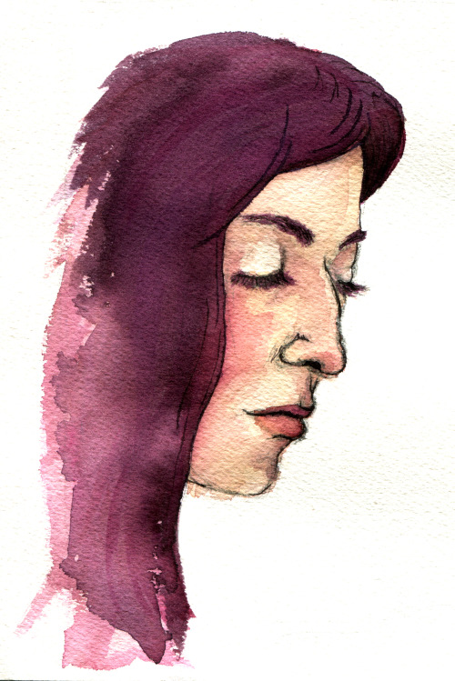 Quick watercolour sketch of my oldest friend. She doesn't actually have purple hair, but she should.
