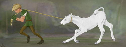 "The Kings Unicorn by ~bored-dog Artist's comments excerpt: ""The story/idea behind this was an old King, who had no sons or daughters, demanded his kingdom for an Heir. But to deem this person worthy they had to capture the King a unicorn, dead or alive. Blah blah blah, and a young (12ish) squire boy was able to trick a Unicorn and steal away with her foal. Whether or not he makes it to the castle and becomes the prince is not known. I'm hoping he doesn't. :}"""