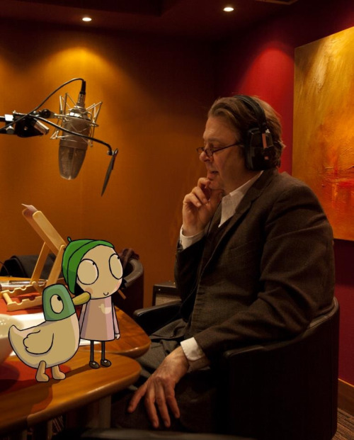 sammysstuff:  Courtesy of the Sarah & Duck Facebook page. Mr. Allam has been in the studio recording new voiceovers this week.  Omg. Omg. Omg. Sarah and Duck (quack) and their otherwise unseen deity!