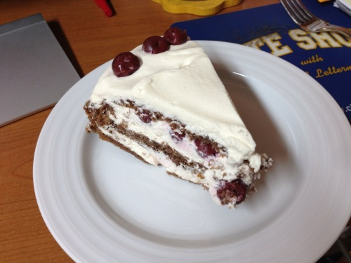 A slice of Black Forest cake with cherries — eaten at my desk while trying to get a decent mix of my latest musical monstrosity.