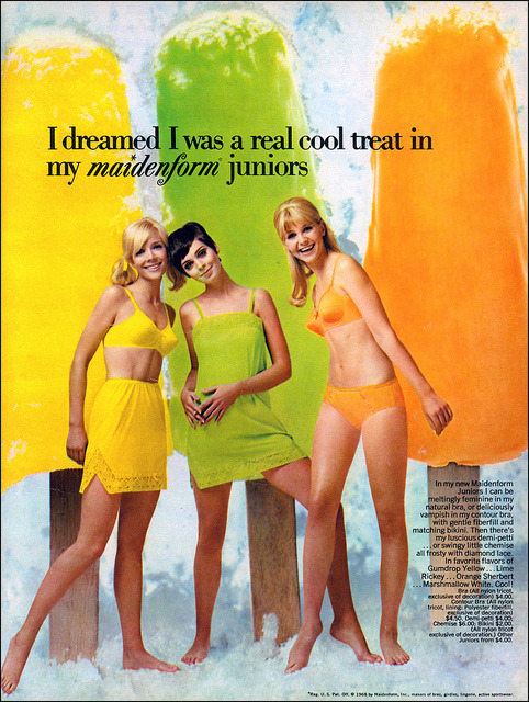 Maidenform Juniors and Giant Popsicles, 1968 by MewDeep on Flickr.