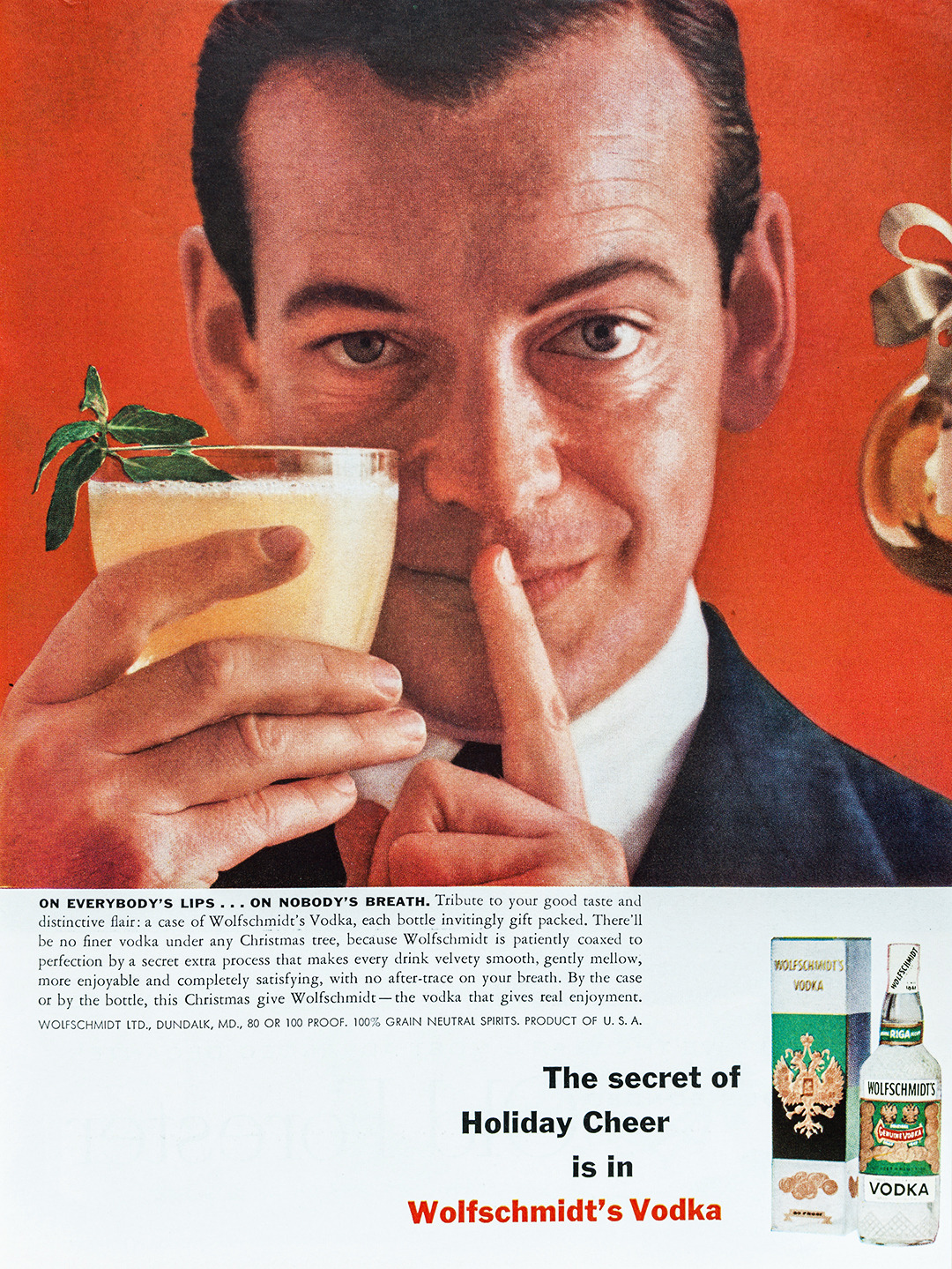 Wolfschmidt's Vodka Advertisement - Gourmet: December 1956