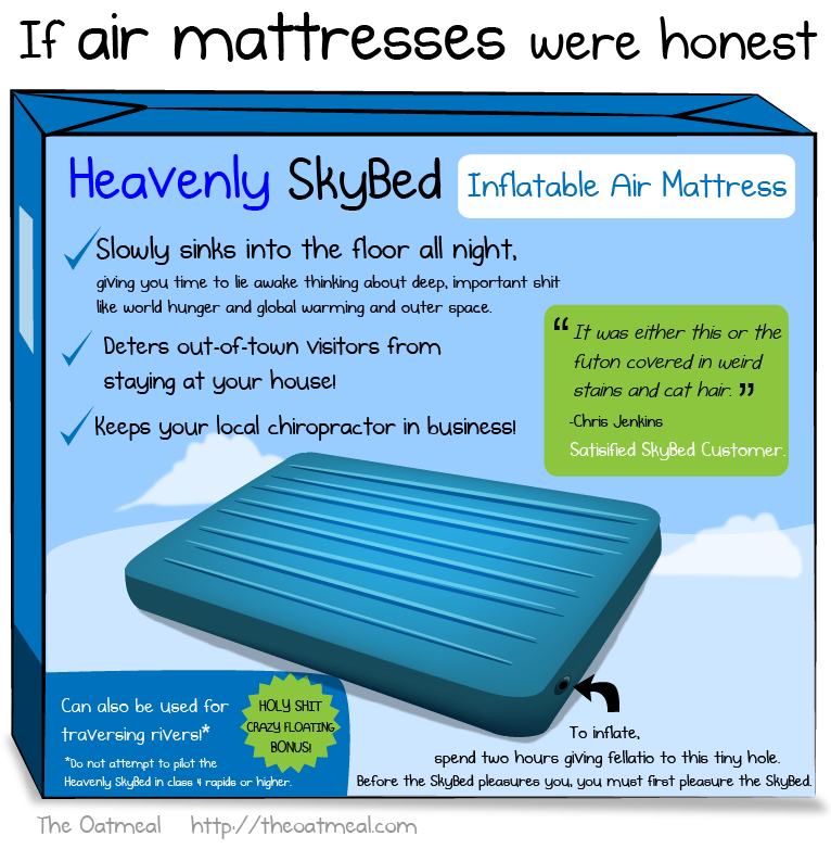 oatmeal:  Truth in air mattress'ing.  Genius!