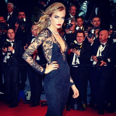 iamcaradelevingne:  The Gatsby was indeed great! Last night in Cannes wearing @burberry and @chopard