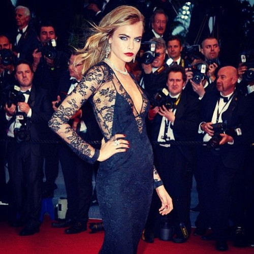 iamcaradelevingne:  The Gatsby was indeed great! Last night in Cannes wearing @burberry and @chopard  best