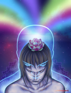 Higher Self - See on DeviantART - Buy the Print Every living being alive is more than their physical body. We are a soul having a physical experience, a soul which is forever connected to the universe and the light. This painting attempts to illustrate the higher self, also called greater self and oversoul, the part of us which contains the sum of all the knowledge and experience we have accumulated from our past lives and through our connection with the cosmos. By opening our hearts and our minds, we can access the higher self's divine knowledge.