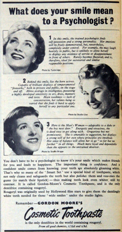 ~ Gordon-Moore's Cosmetic Toothpaste, June 1954via Grace's Guide