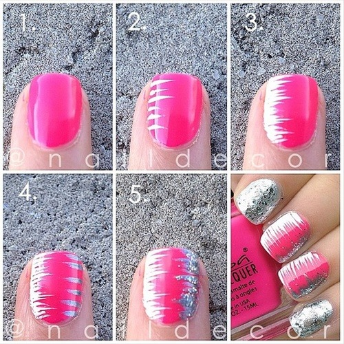 DIY - Pink Stripe nail art tutorial.