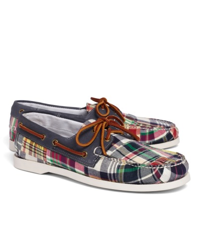 wantering:  Brooks Brothers Patchwork Madras Boat Shoes