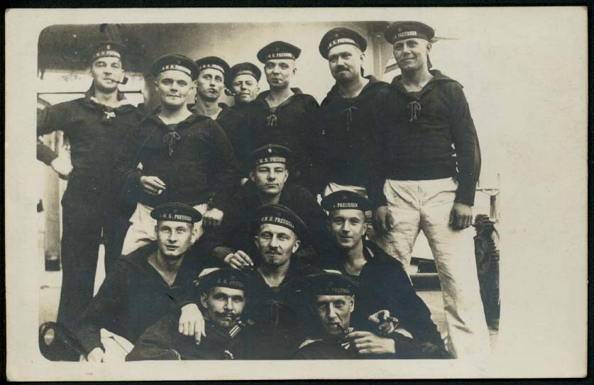 Crew photo (RPPC) from German WWI Imperial Navy SMS Preussen (Marineschiffspost)