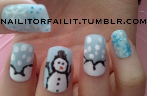 Snowman nails, to celebrate the rare snow currently in England, nailitorfailit.tumblr.com xxx