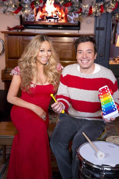 "Mariah Carey  posted this pic of herself on Twitter with Jimmy Fallon , with the caption:"" Been watching our festive shenanigans again, getting ready 4 Christmas! Thx 4 everything!! Love, Mariah"""