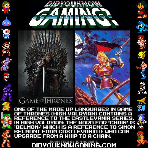 didyouknowgaming:  Castlevania, Game of Thrones.Source.