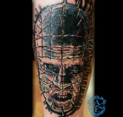 Pinhead Tattoo done by Sean Ambrose at Arrows and Embers Custom Tattooing