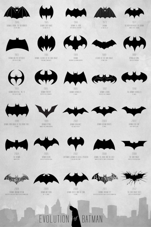 "gabeweb:  Batman: An Illustrated Evolution    A comprehensive and extensive chart of the Batman logo evolution, spanning over 72 years from 1940 - 2012 to map the transformation of a timeless hero. Each poster is stamped and numbered by artist Cathryn Lavery from an edition of 500. There are three sizes available; all prints are ready for framing.   - 13"" x 19""   (33.02cm x 48.26cm) - 16"" x 24"" (40.64cm x 60.96cm) - 24"" x 36""   (60.96 cm x 91.44cm)  This poster is pressed with the best pigment inks on premium archival photographic paper with satin finish (not too glossy, not too dull, just perfect).   (vía Calm The Ham)"