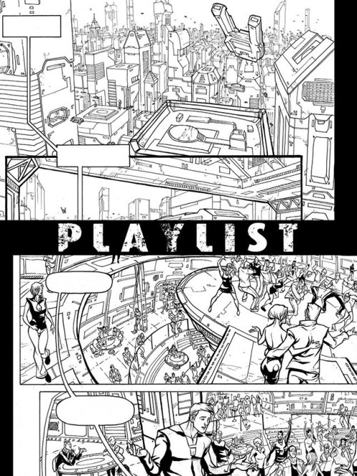 This is a preview page of the upcoming Playlist comic book anthology! If you click here, you can check out the interview with Phil Sevy (he did the preview page) and if you like our work, please back us! We have 17 days left and we still need a great deal of support in order to make this comic book a reality.