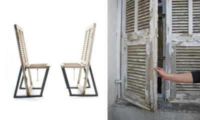 File under: New uses for old shutters:  Chairs, made by Junktion, whose work we've mentioned here. (photo via Junktion here)