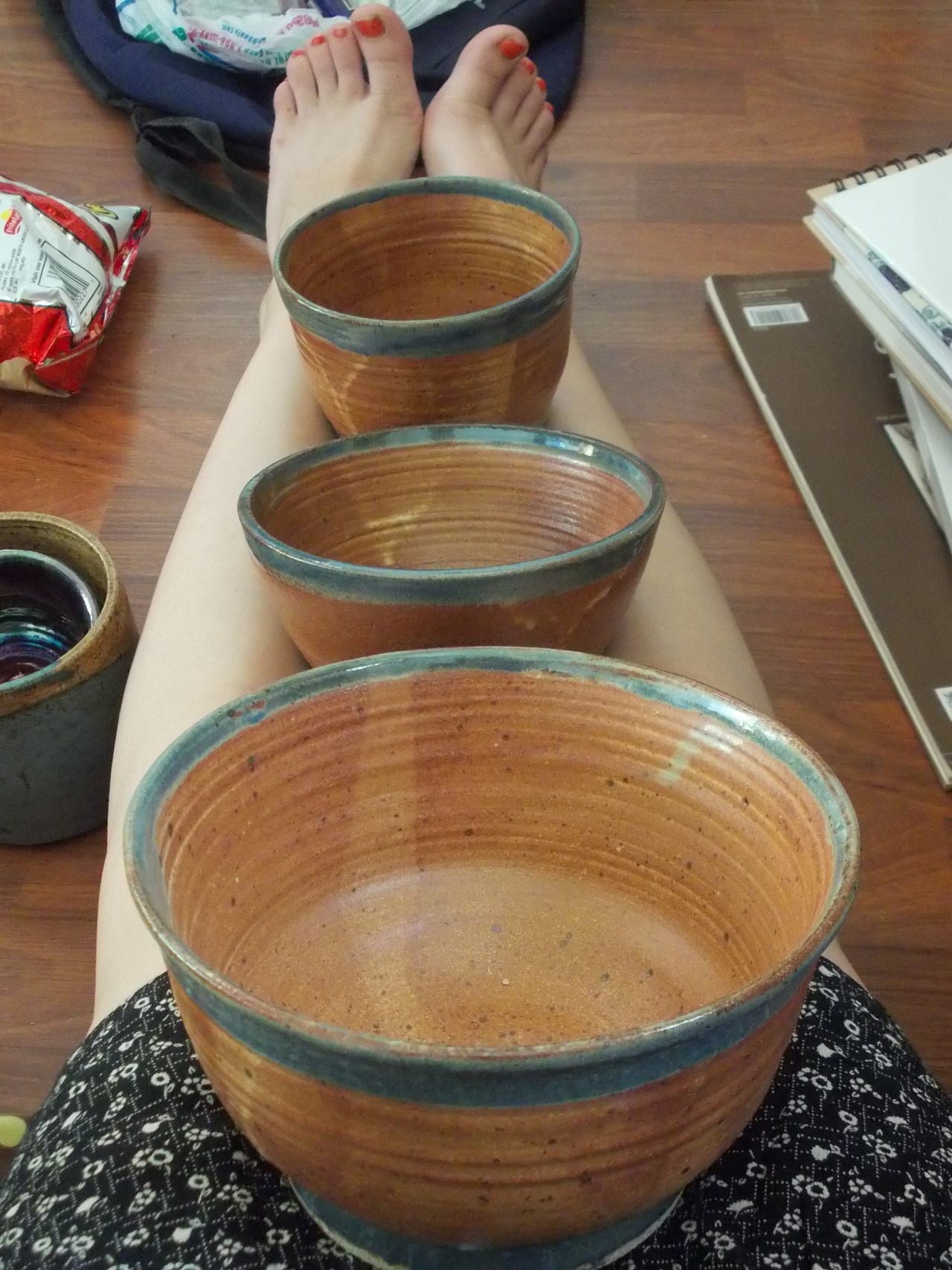 Some large bowls I made for my 2013 Spring Collection. Message me if you'd like to make me an offer. These are glazed with Speckled Yellow and Aegean Blue mixed by Tom Dunn at Azusa Pacific University.