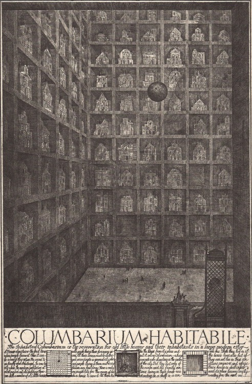 architectural-review:  Columbarium Habitabile, Alexander Brodsky & Ilya Utkin, 1990 'The Museum of Disappearing Buildings' features a pendulum wrecking ball looming in the upper third of its composition, threatening to destroy any unoccupied dwelling shelved on this enormous archive. All in the name of progress…