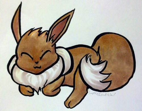 Leeroy was sleeping super cutely, so I drew Eevee like him.
