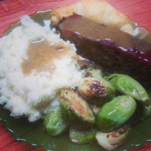 Engine 2 Lynn's Meatloaf, Happy Herbivore brown gravy, mashed potatoes, roasted Brussels sprouts, crescent roll. Delicious! I don't have stomach capacity for this heavy kind of food anymore. Whew. I need a nap.