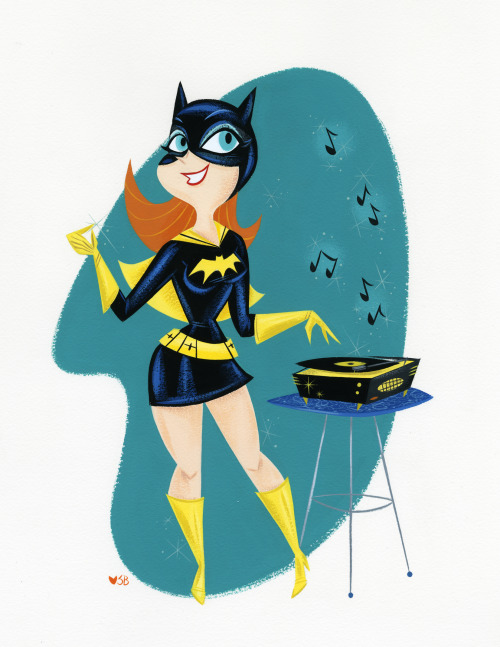A recent Batgirl commission, painted with gouache on watercolor paper.