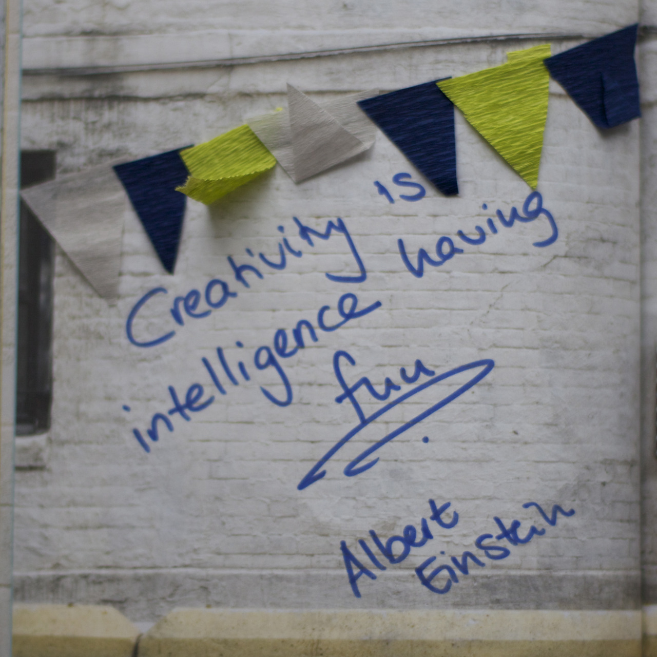 "gidsy:   ""Creativity is intelligence having fun.""  - Heike"
