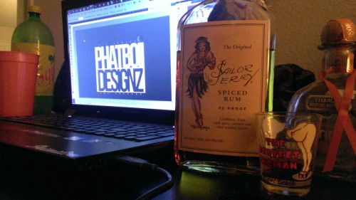 Designing with OG.Phatboii and sipping some Sailor Jerry!