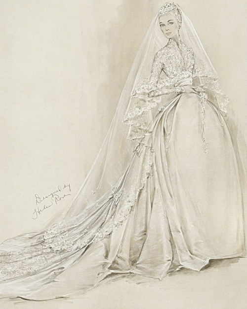 "fashioninhistory:  Wedding Dress for Grace Kelly (Sketch) Helen Rose 1956 Movie actress Grace Kelly, a Philadelphia native, wore this wedding dress for her marriage to Prince Rainier III in the cathedral of Monaco on April 19,1956; Academy Award-winning designer Helen Rose, who had created Kelly's costumes for the films High Society and The Swan, was chosen to design the gown, which was constructed by the MGM wardrobe department. In style and detail the dress was conceived to complement the ""fairy-princess"" image of the bride. A bell-shaped skirt of ivory peau de soie supported by three petticoats, a high-necked bodice of Brussels lace was re-embroidered so the seams would be invisible and then accented with seed pearls. Pearl-embellished lace also covers the prayer book, shoes, and cap, which is surmounted by an orange-blossom wreath. The circular silk net veil, especially designed so that the bride's face could be seen, is decorated with appliquéd lace motifs including two tiny love birds"