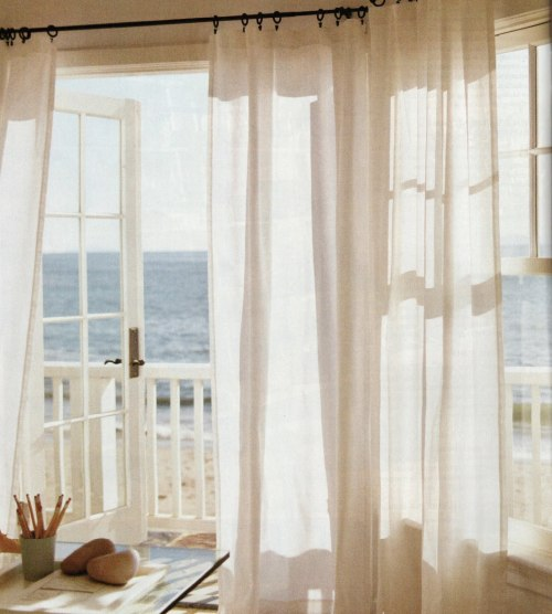 designed-for-life:  How wonderful would it be to have soft sunlight through your windows through these elegant sheer drapes.