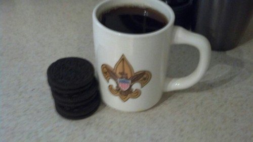 coffee and Oreos for dunking, hell yeah health food