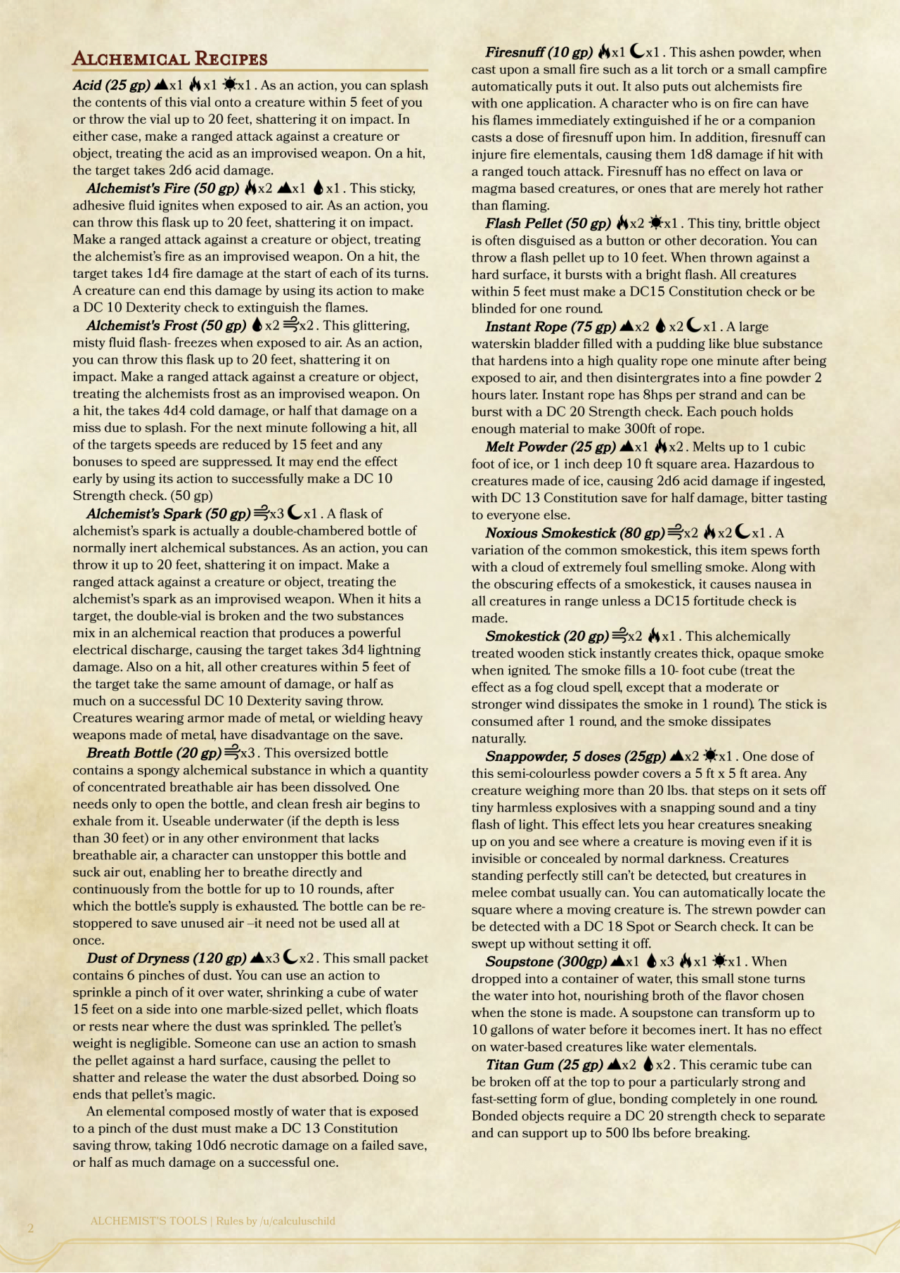 dnd 5e homebrew alchemist s tools mechanics by calculuschild